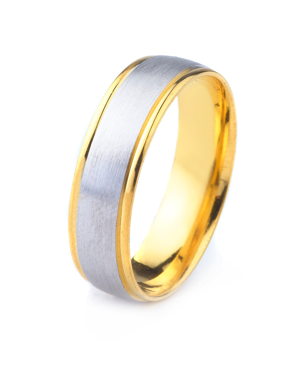 14K GOLD MENS TWO TONE WEDDING BAND WITH POLISHED EDGES AND SATIN FINISH