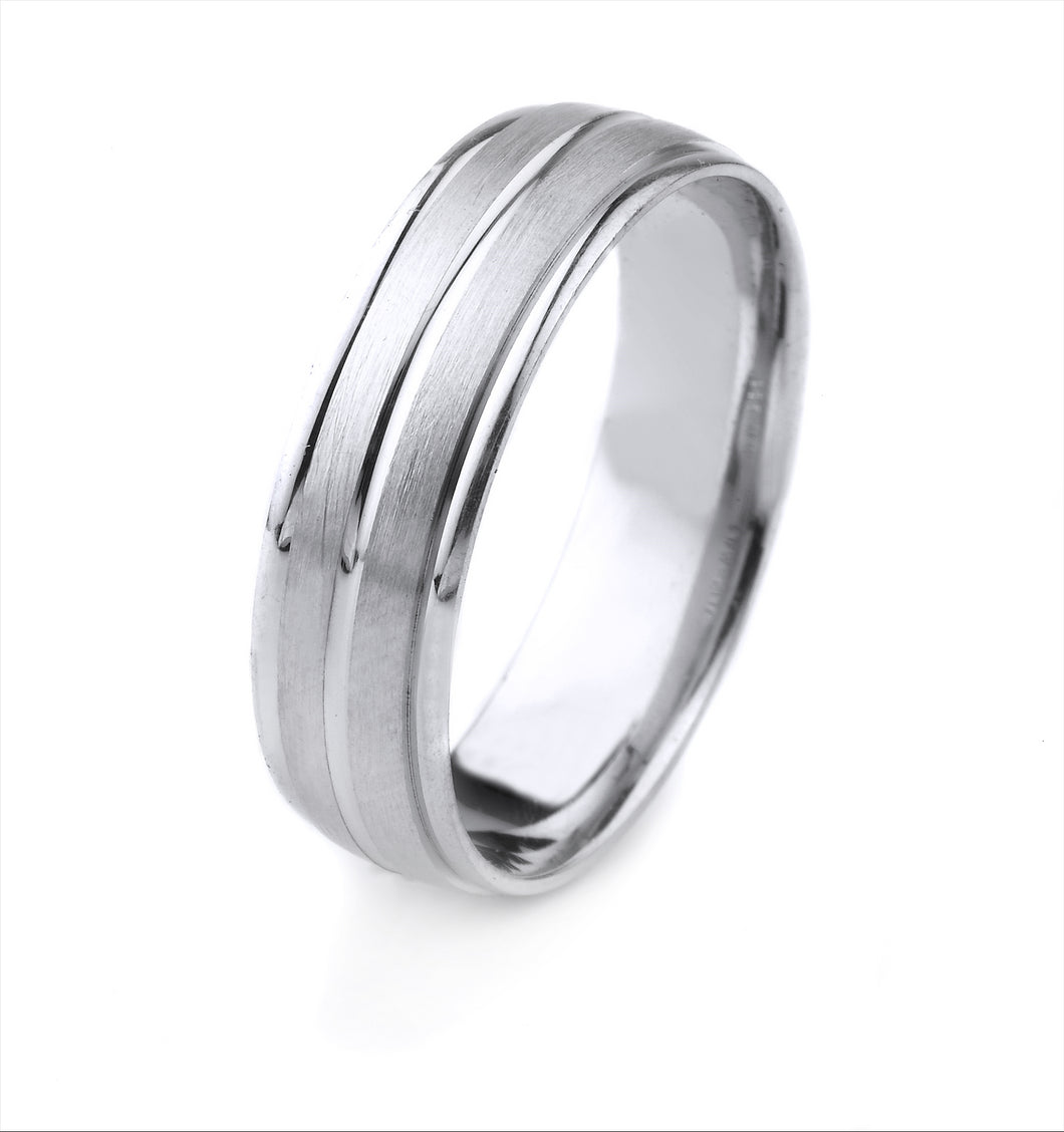 18K GOLD MENS WEDDING BAND WITH CENTER CHANNEL AND POLISHED CARVED EDGES WITH A SATIN FINISH