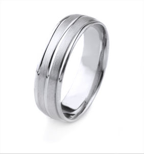 14K GOLD MENS WEDDING BAND WITH CENTER CHANNEL AND POLISHED CARVED EDGES WITH A SATIN FINISH