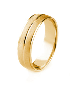 14K GOLD MENS WEDDING BAND WITH SATIN FINISH POLISHED CUT EDGES AND CENTER GROOVE