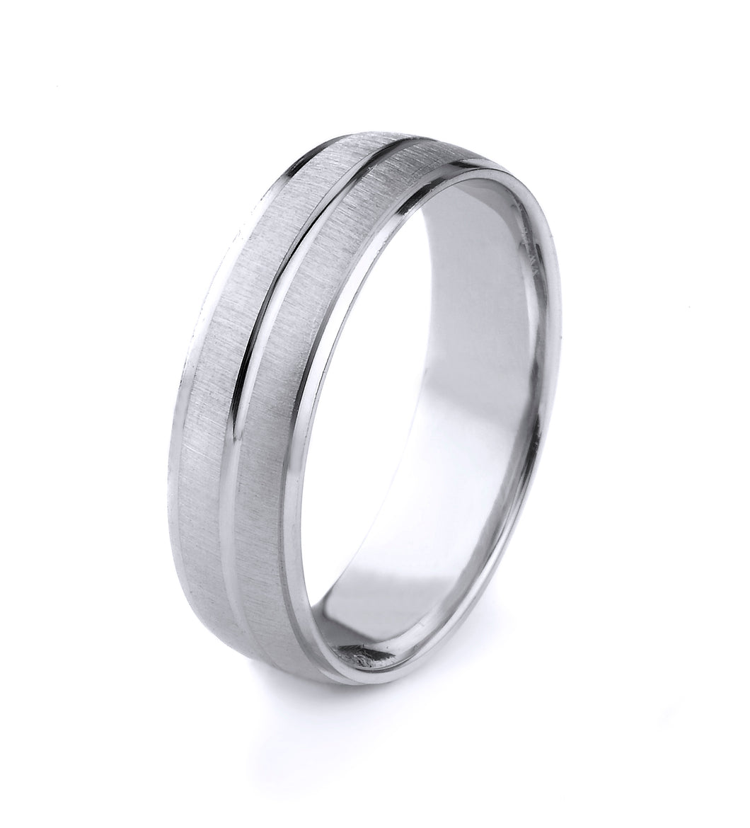 10K GOLD MENS WEDDING BAND WITH SATIN FINISH POLISHED CUT EDGES AND CENTER GROOVE