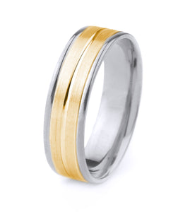 10K GOLD MEN'S TWO TONE WEDDING BAND WITH SATIN FINISH, CENTER GROOVE AND POLISHED EDGES