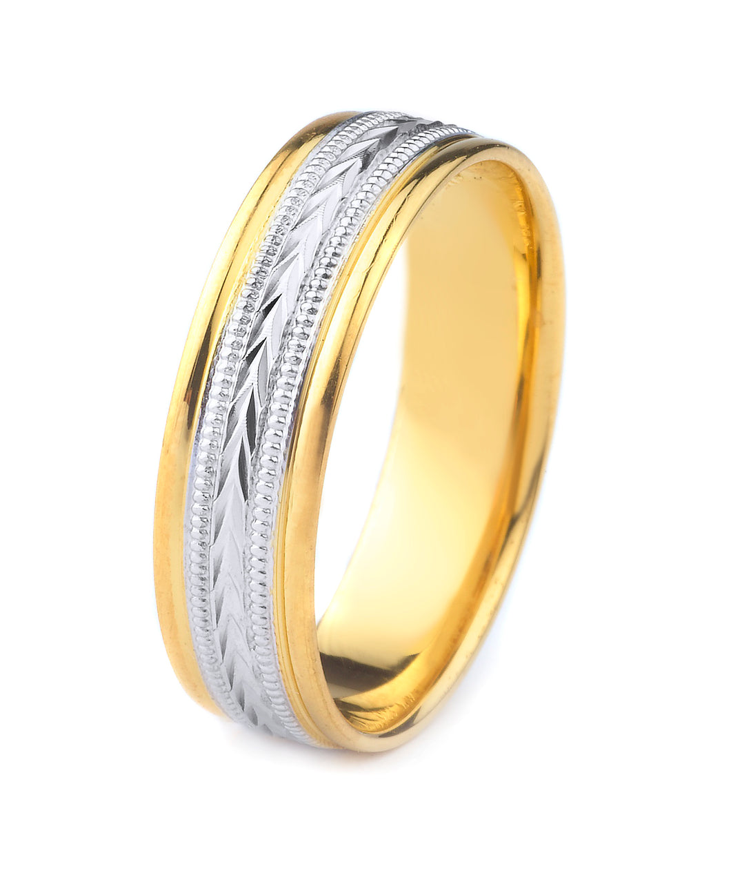 10K GOLD MENS TWO TONE WEDDING BAND WITH WHEAT & MILGRAIN DESIGN CENTER AND POLISHED EDGES