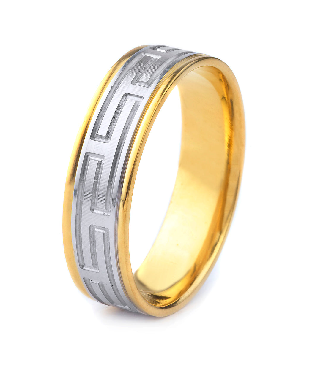 18K GOLD MEN'S TWO TONE WEDDING BAND WITH WORN COIN EDGE FINISH, MODERN GREEK KEY STYLE AND POLISHED EDGES