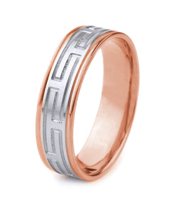 10K GOLD MEN'S TWO TONE WEDDING BAND WITH WORN COIN EDGE FINISH, MODERN GREEK KEY STYLE AND POLISHED EDGES