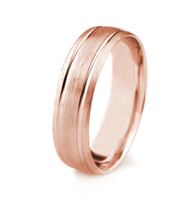 10K GOLD MENS WEDDING BAND WITH SATIN FINISH BEVELED EDGES AND PARALLEL GROOVES