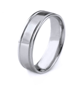 10K GOLD MENS WEDDING BAND WITH CARVED MILGRAIN EDGES AND POLISHED FINISH
