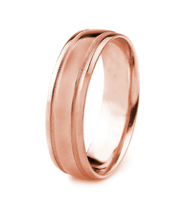10K GOLD MENS WEDDING BAND WITH POLISHED FINISH AND PARALLEL MATTE GROOVES
