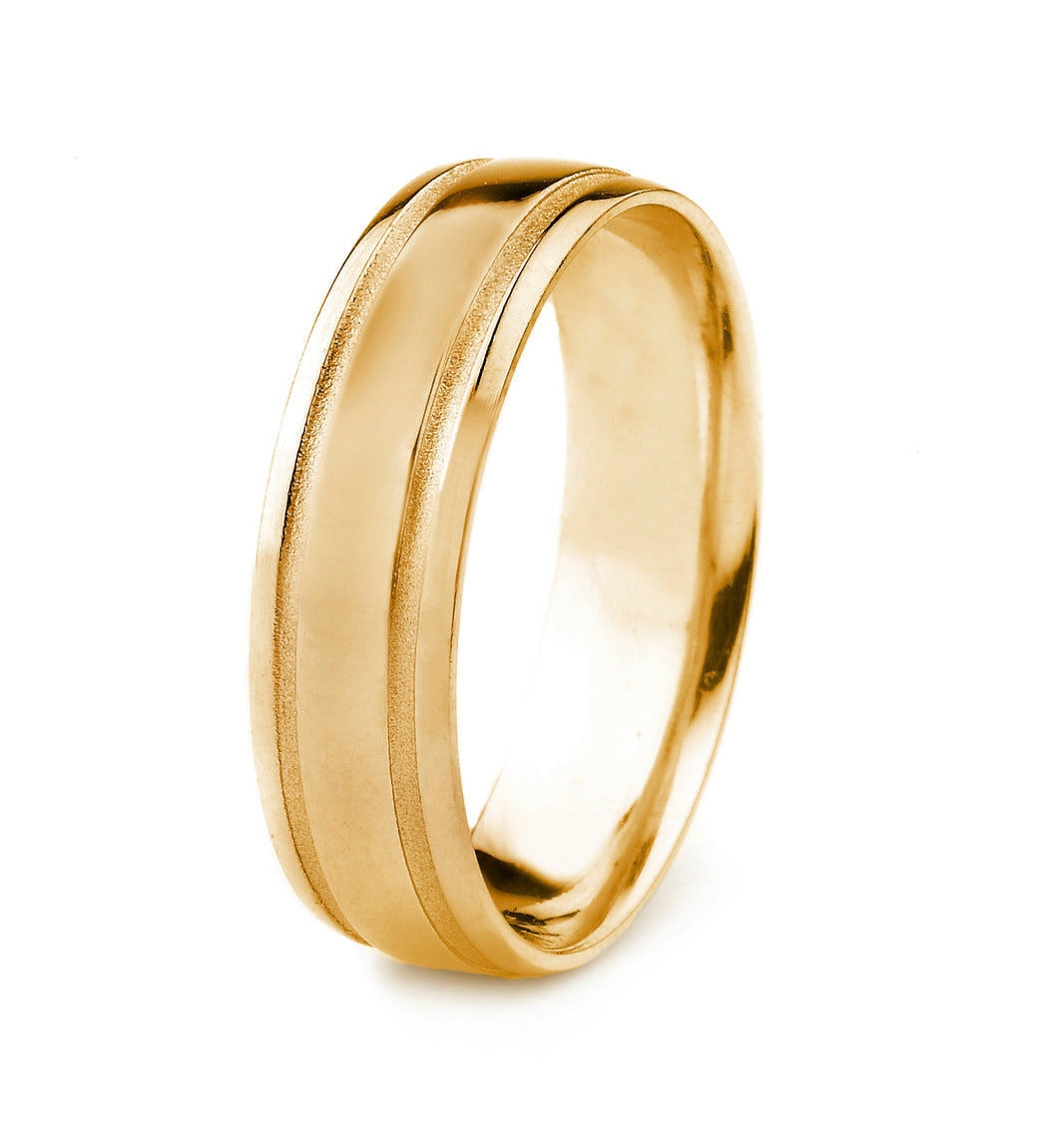 14K GOLD MENS WEDDING BAND WITH POLISHED FINISH AND PARALLEL MATTE GROOVES