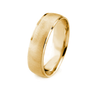 18K GOLD MENS WEDDING BAND WITH CROSS SATIN FINISH AND CUT POLISHED EDGES