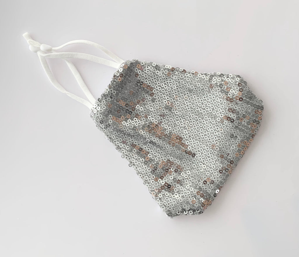 Luxury Silver Sequin Face Mask