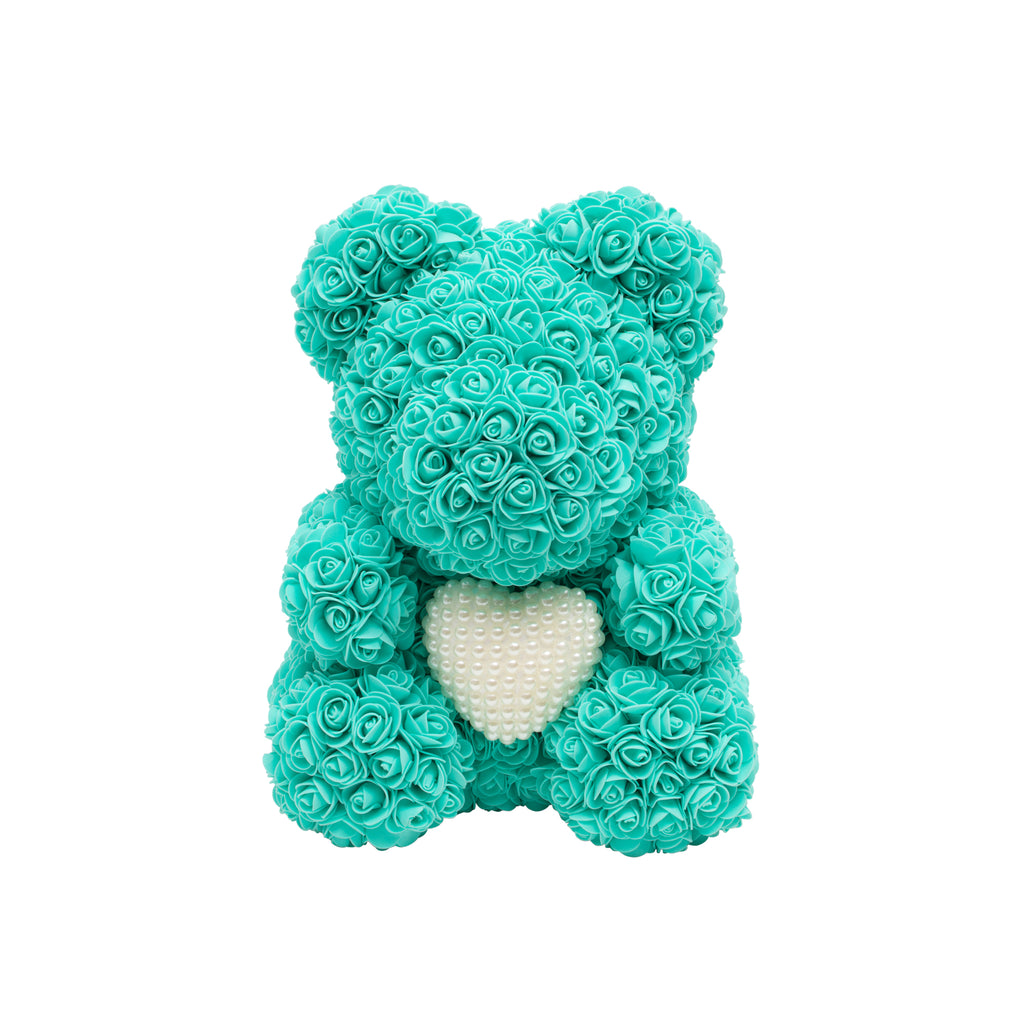 Luxury Heart of Pearls Rose Bear - Tiffany Blue