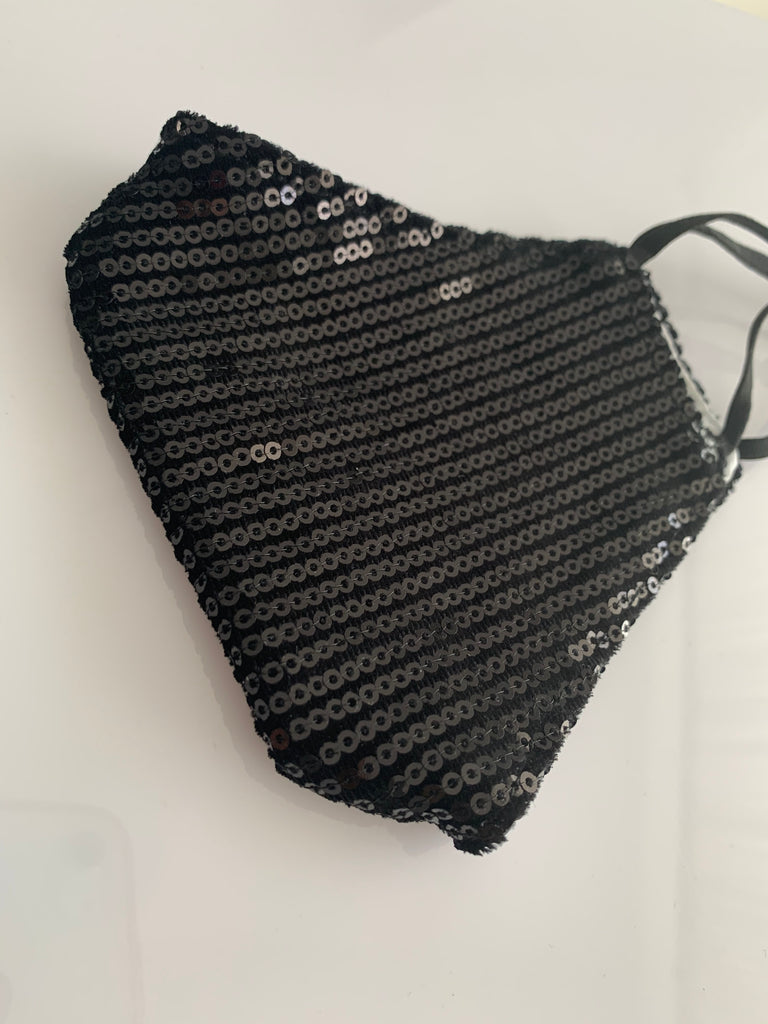 Luxury Black Sequin Face Mask