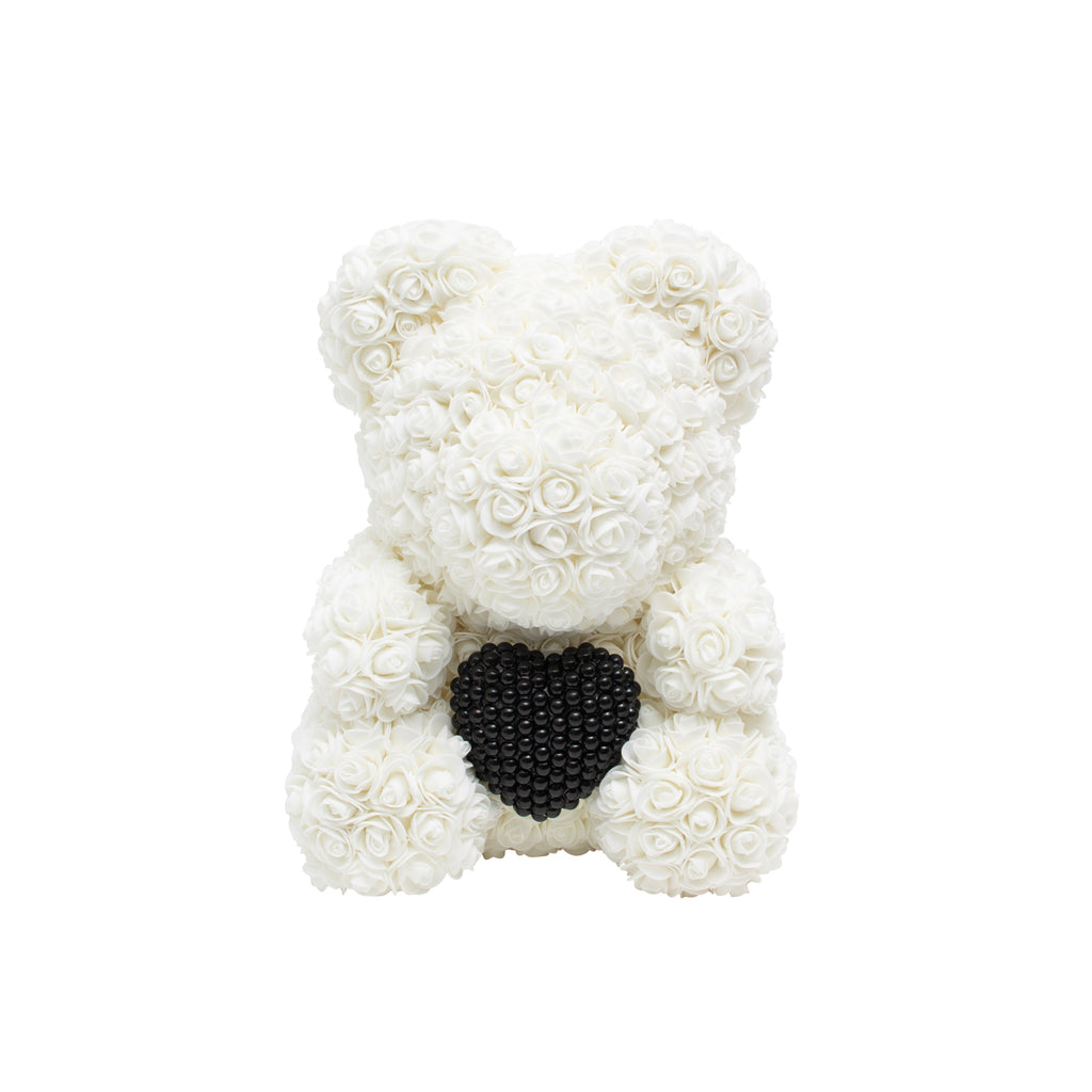 Luxury Heart of Pearls Rose Bear - Creamy White