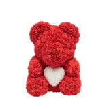 Luxury Heart of Pearls Rose Bear - Red