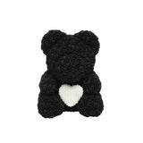 Luxury Heart of Pearls Rose Bear - Black