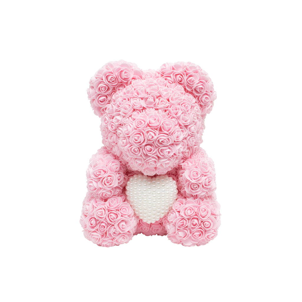 Luxury Heart of Pearls Rose Bear - Baby Pink