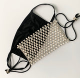 Pearl & Rhinestone Face Mask Cover (OPTIONAL cotton mask)