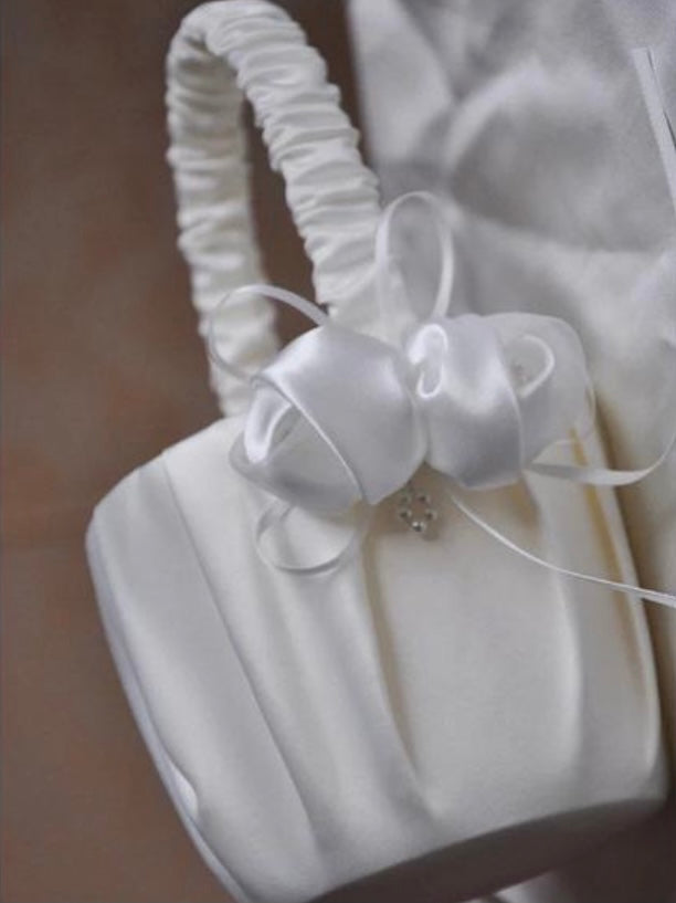 Ivory Satin Flower Girl Basket and Optional  Pillow Set