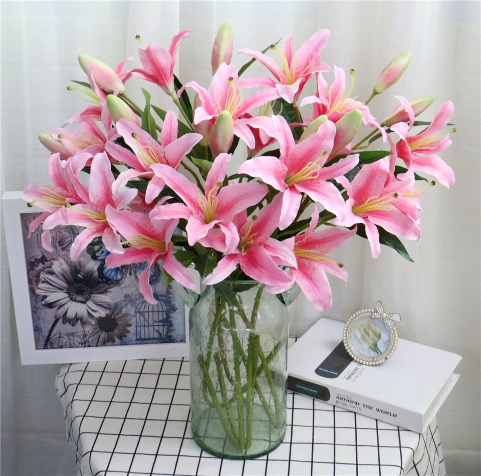 Artificial 6-head Lily Flower - 1 piece