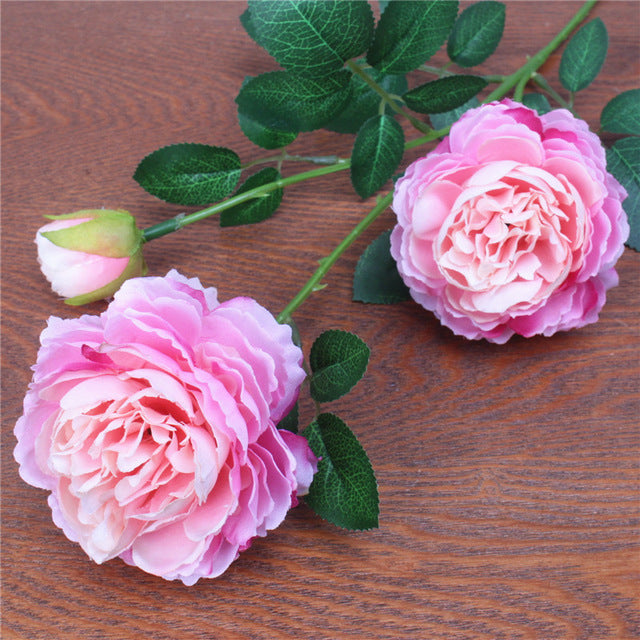Artificial 3-branch Peony Rose flower - 1 piece