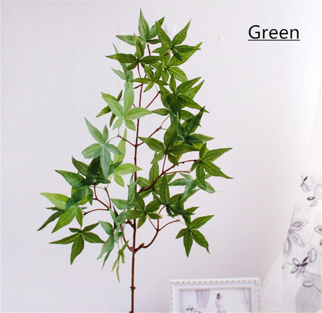 Artificial Autumn Silk 5-branch Green Plant - 1 piece