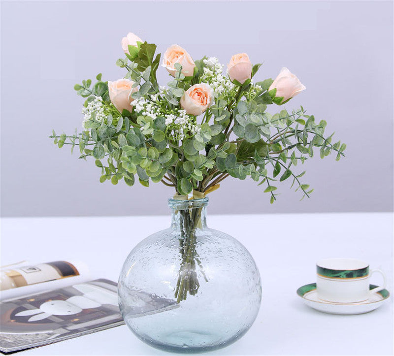 Artificial Small Rose Lotus Baby's Breath Bouquet