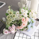 Artificial 10-head Silk Rose Flower Bouquet