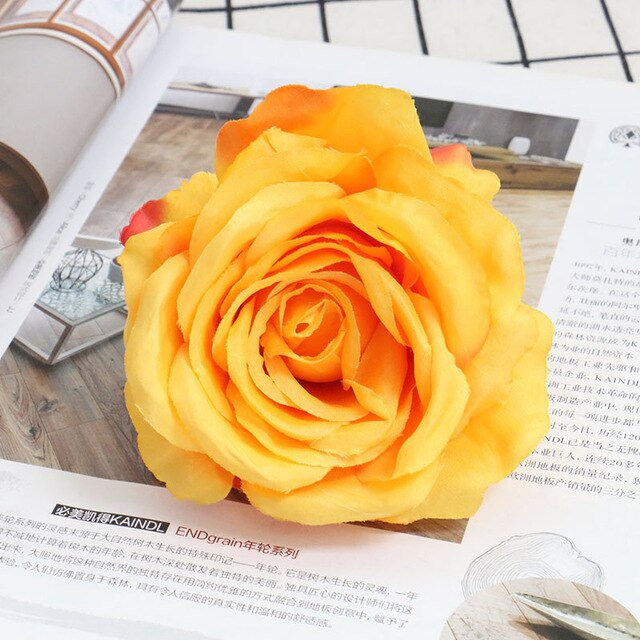 Artificial Silk Rose Flower Heads - 20 pieces