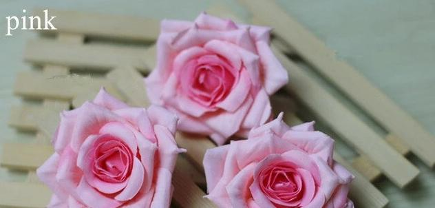 Artificial Silk Rose Flower Heads - 25 pieces