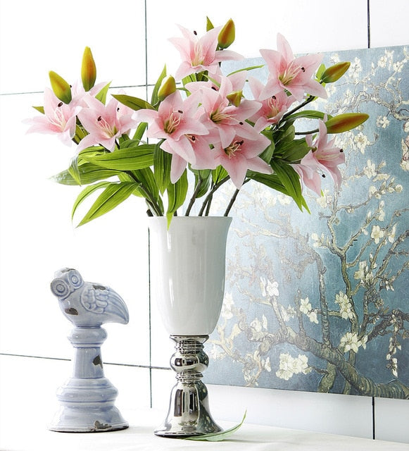 Artificial 3-head Real Touch Lily Flower - 5 pieces