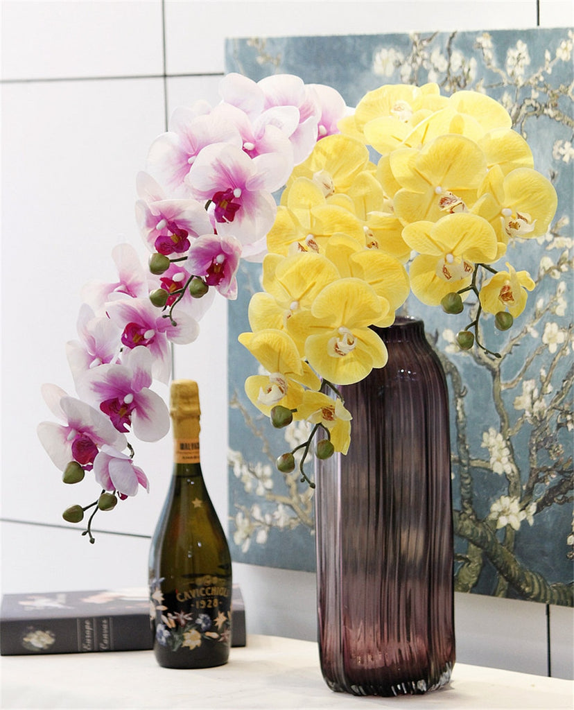 Artificial 9-head Phalaenopsis Real Touch Orchid - 1 piece