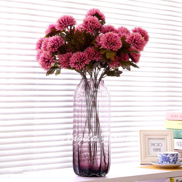 Artificial Nordic 3-head Chrysanthemum Pompom Flower - 1 piece