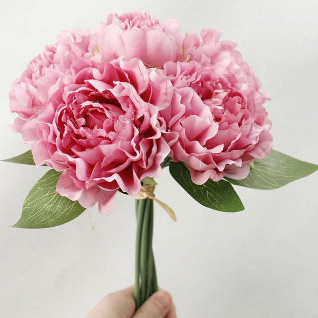 Artificial Silk Rose 6-head Peony Flower Bouquet