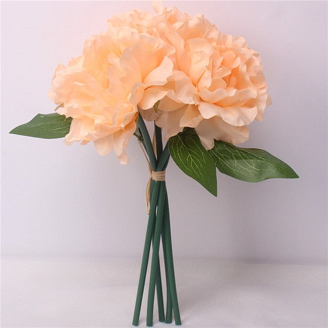 Aritificial Rafi Silk Peony Flower Bouquet