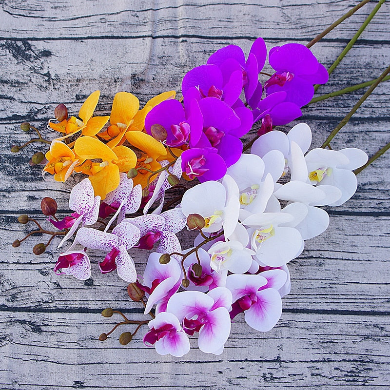 Artificial Real Touch Phalaenopsis Orchid with 1 Large Size Leaf - 1 piece