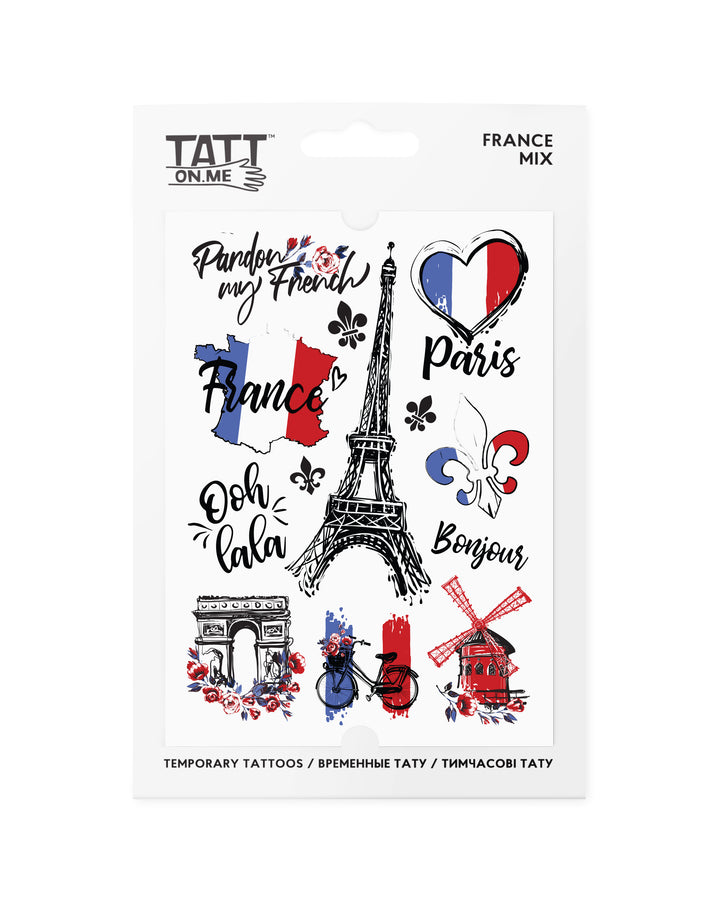 France Paris temporary tattoos