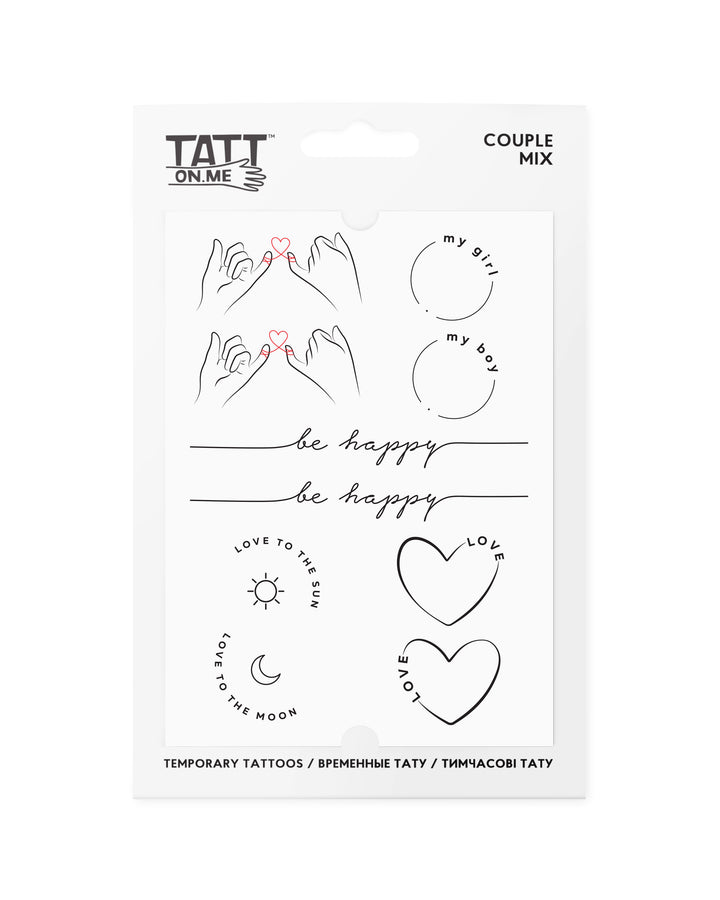 Couple paired temporary tattoos