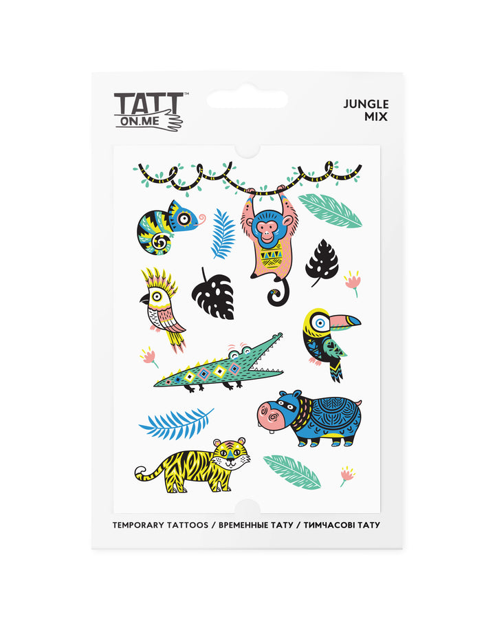 Jungle fun kids temporary tattoos TATTonme Jungle mix