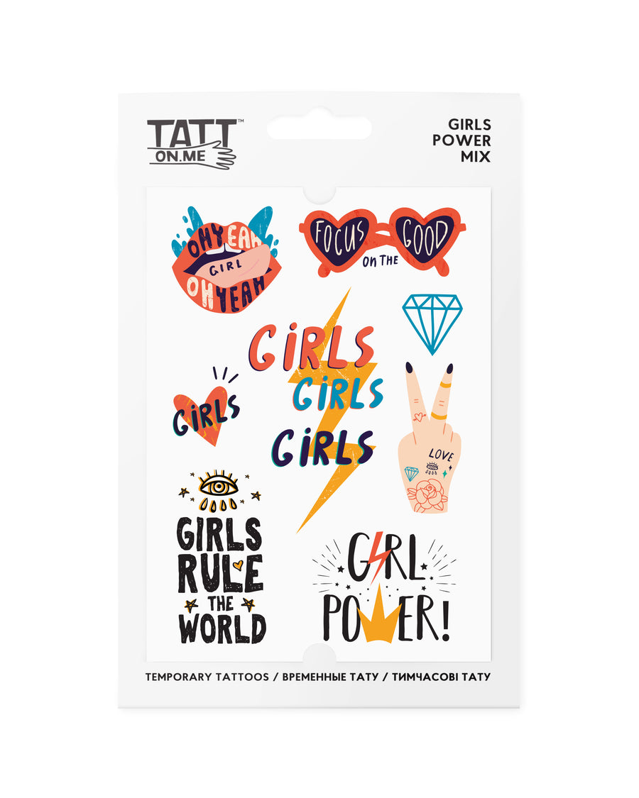 Girls power temporary tattoos