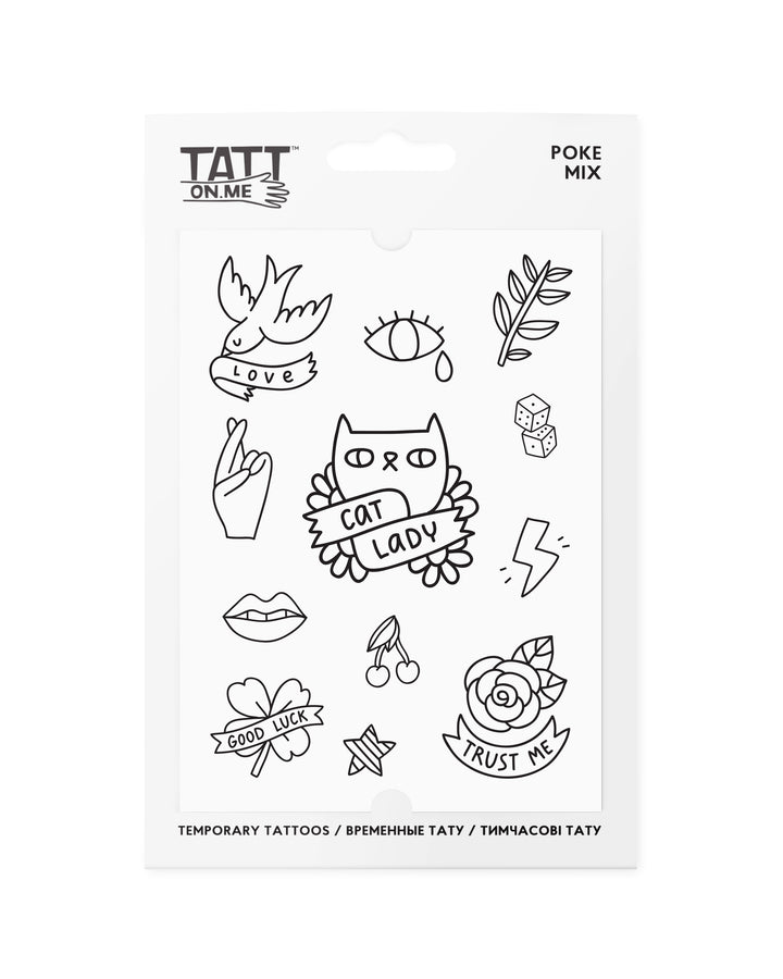 One-line poke temporary tattoos TATTonme Poke mix