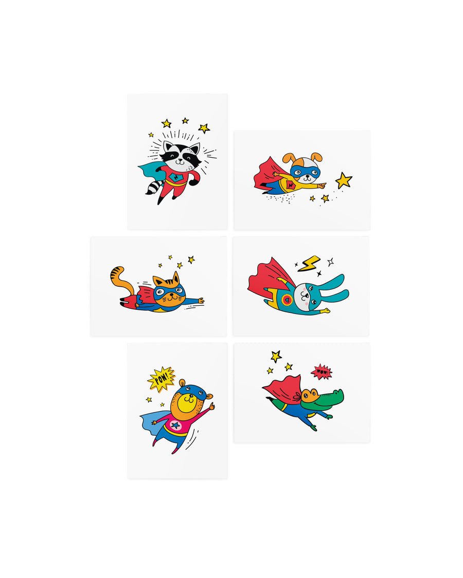 Superheroes kids temporary tattoos TATTonme Superhero set