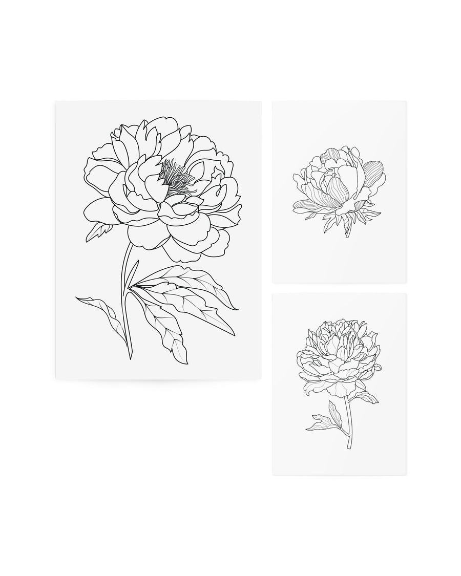 Graphic Flowers temporary tattoos