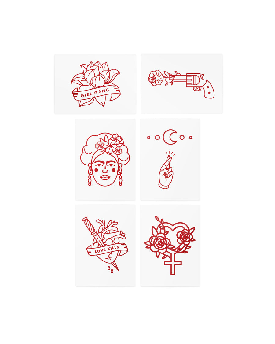 Frida red temporary tattoos