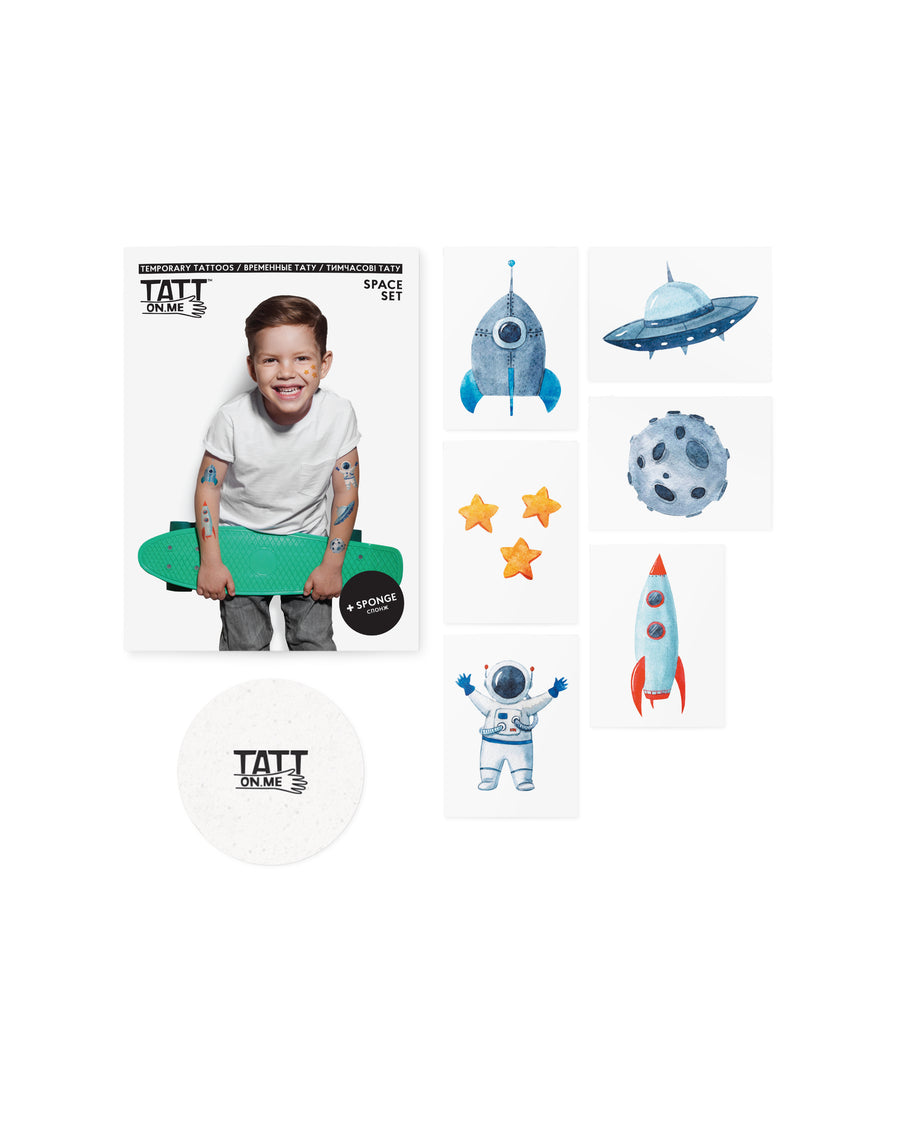 Space kids temporary tattoos TATTonme Space set