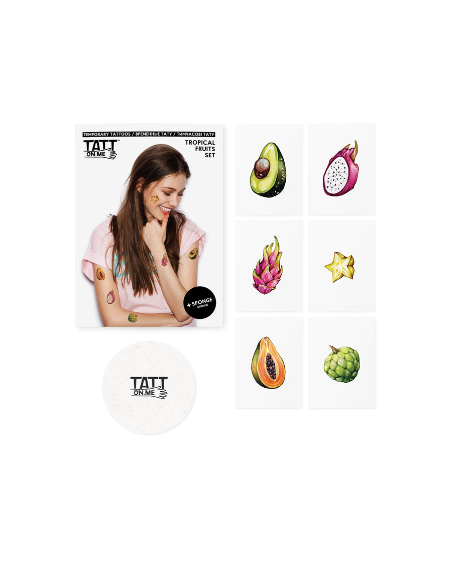 Fruits avocado papaya tattoos TATTonme Tropical fruits set