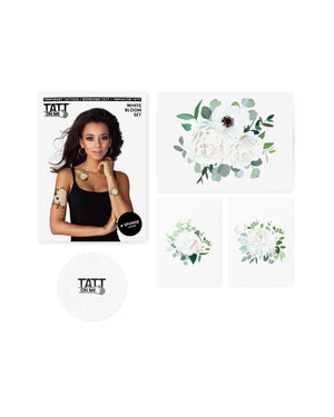 Floral white tattoos TATTonme White bloom set
