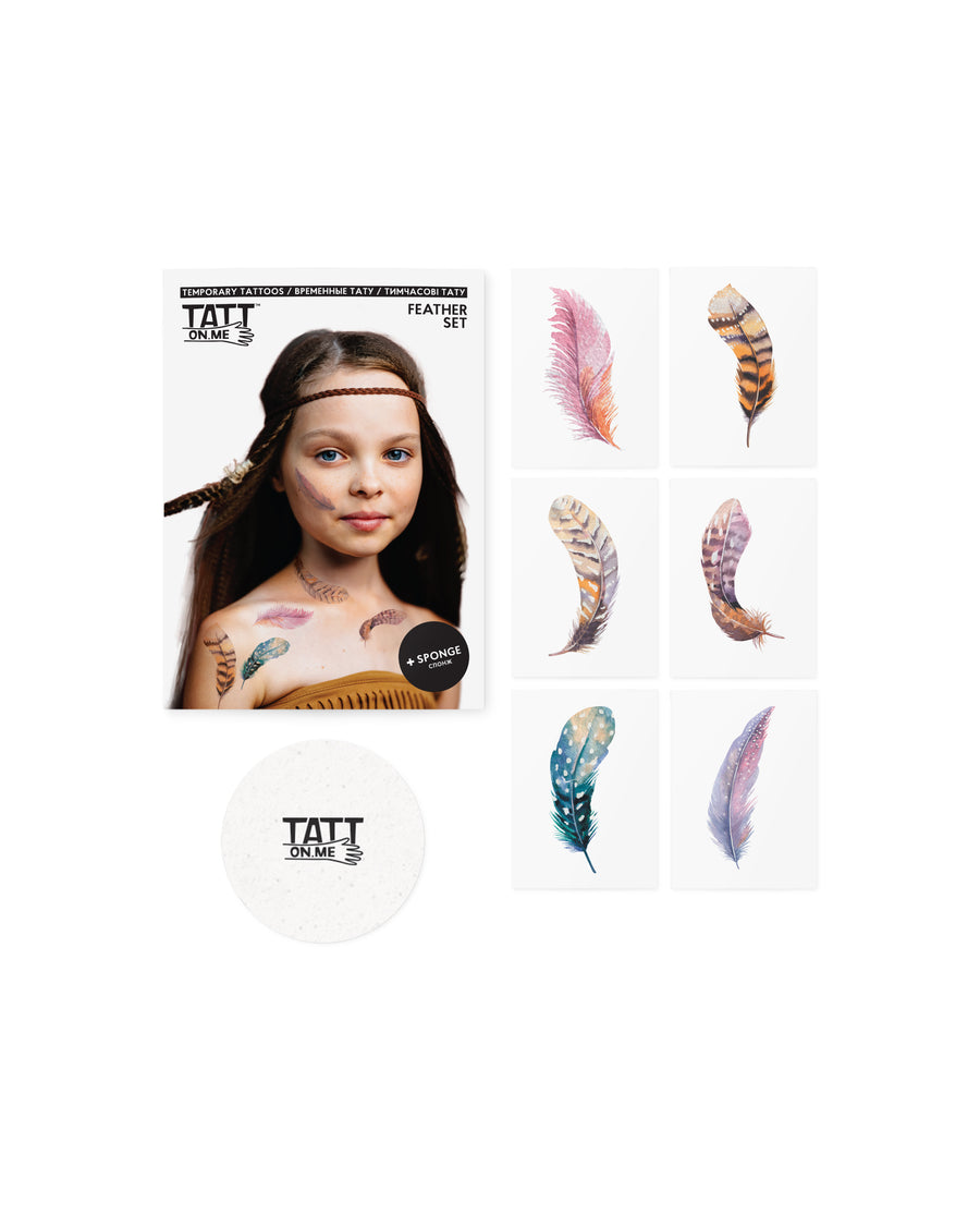 Feathers temporary tattoos for kids