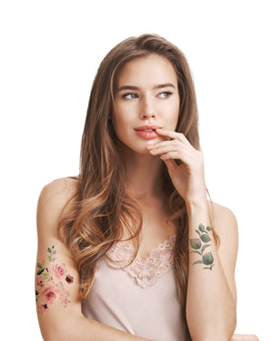 Roses floral temporary tattoos TATTonme Rose bloom set