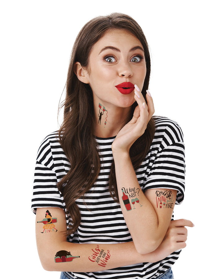 Wine temporary tattoos TATTonme Wine set
